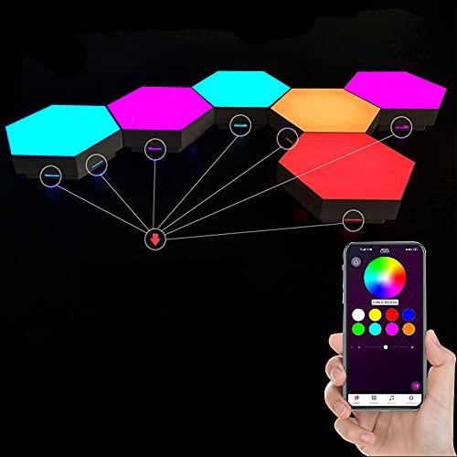 GJCrafts Paneles LED Hexagonal Paquete de 6 con control de aplicaciones móviles , Inteligentes Luz Nocturna de luz Luces RGB de Geometría Bricolaje para Dormitorio/Sala/Fiesta.