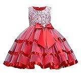 Happy Cherry - Traje Bautismo Bebés Niñas Vestido Fiesta de Encaje de Tul Cumpleaños Boda Party para Infantiles de 11-12 Años - Rojo - 3XL