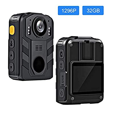 CAMMHD 1296P HD Body Camera with 2 Inch Display, Waterproof Police Camera, IR Night Vision, IP68, Built-in Rechargeable Battery, 32GB Memory from CAMMHD