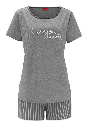 s.Oliver Damen Shorty Zweiteiliger Schlafanzug, Grau (Grau/Streifen Grau), 34