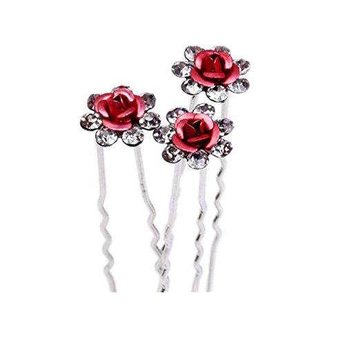S&E - 10 forcine per capelli da sposa in stile vintage con rose e strass