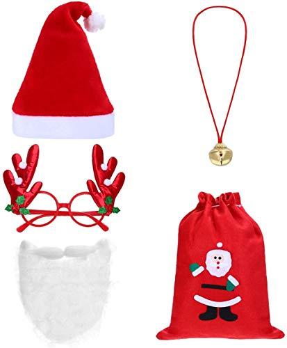 RENFEIYUAN Frienda 5 Pezzi di Natale Babbo Natale Costume Set: Santa Cappello Zaino Coulisse Babbo Natale Barba Renna Occhiali Campana Collana di Natale for la Festa di Natale Cappellino Babbo Natale