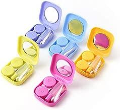 sansheng 5 Pack Mini Travel Contact Lens Box Sets, Support Lens Box, Contact Lens Fixed Lens Box, Blue, Purple, Green, Rose red, Yellow