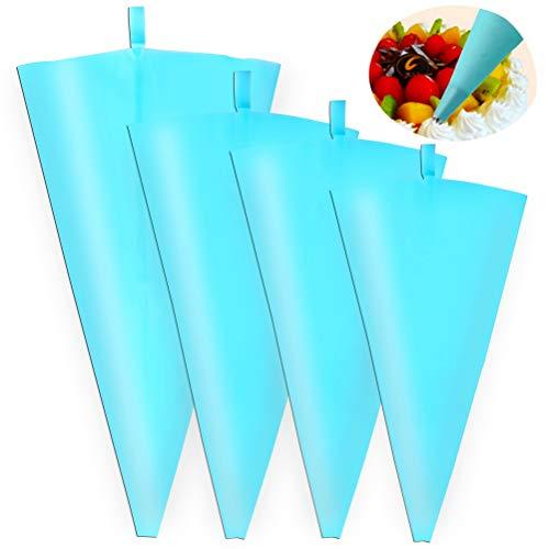 nusohen 4 Stücke Spritzbeutel, Wiederverwendbar Spritzbeutel Silikon Spritzbeutel Spritztüten in 4 Verschiedenen Größe für Kuchen, Torten, Keksen-Dekoration (Blau)