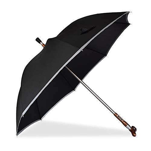 ZWYY Spazierstock-Regenschirm, klassischer winddichter Cane Umbrella 2 in 1 Cane-Bergsteigen-Regenschirm Rutschfester winddichter Regenschirm Geschenk für Vater,Black