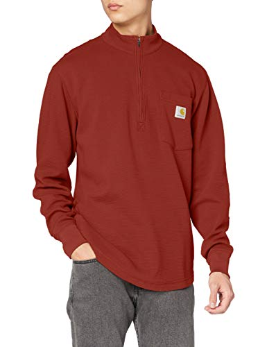 Carhartt Herren Tilden Long Sleeve Half Zip Hemd, Braun (Henna), Klein