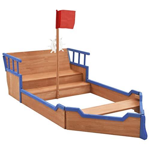 vidaXL Tannenholz Sandkasten Piratenschiff mit Fahnenstange Lenkrad Piratenboot Boot Schiff Holzsandkasten Sandbox Sandkiste 190x94,5x136cm