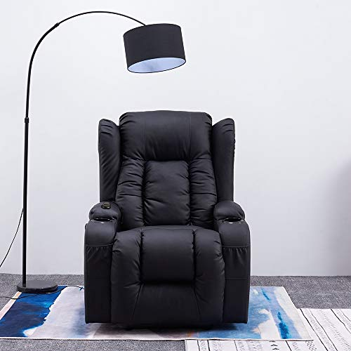 Panana Electric Recliner Chairs Real Bonded Leather Armchair Wind Back Massage Chair Swivel Heated Gaming Adjutable Reclining Chair Single Leather Sofa for Living Room Office Lounge (Black)
