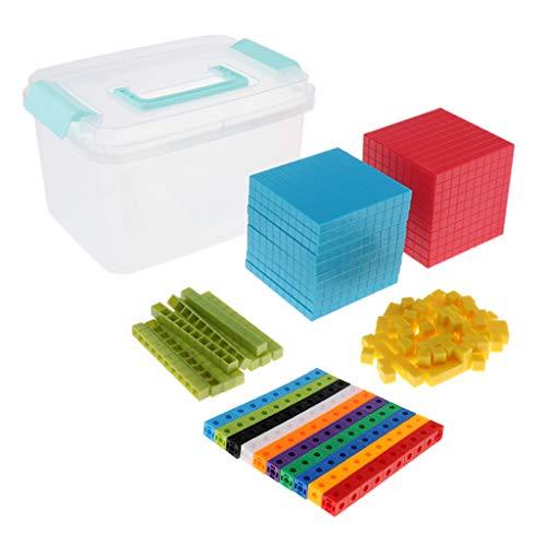 harayaa Cubos de Enlace de Matemáticas para Bebés Y Niños con Kit de Juego de Base Diez