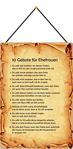 FS Die 10 Gebote für Ehefrauen Blechschild Schild gewölbt Metal Sign 20 x 30 cm mit Kordel
