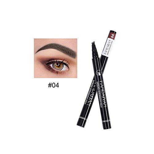 Liquid Eyebrow Pen - BESTGIFT Long Lasting Tint Dye Cream Eyebrow Pen with Four Tips Waterproof Smudge Proof Makeups (4#)