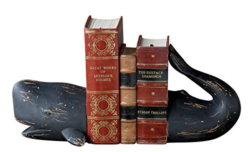 Creative Co-op Whale Shaped Resin (Set of 2 Pieces) Bookends, Distressed Black