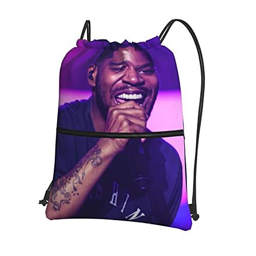 Music Rap Kid Cu-Di Mochila con cordón, mochila de natación, impermeable, bolsa de baloncesto, deportes, gimnasio, con bolsillos con cremallera