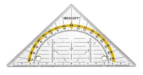 Westcott E-10139 00 Geodreieck, mit Lochung, transparent, 14 cm
