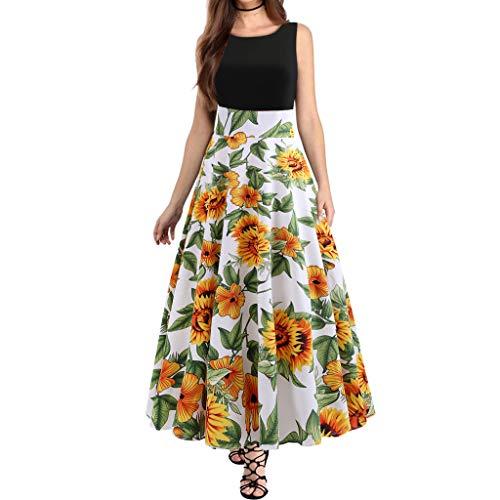 COZOCO Cuello Redondo de Las Mujeres Cintura Estampado Floral Costura Vestido sin Mangas Vestido de Fiesta...