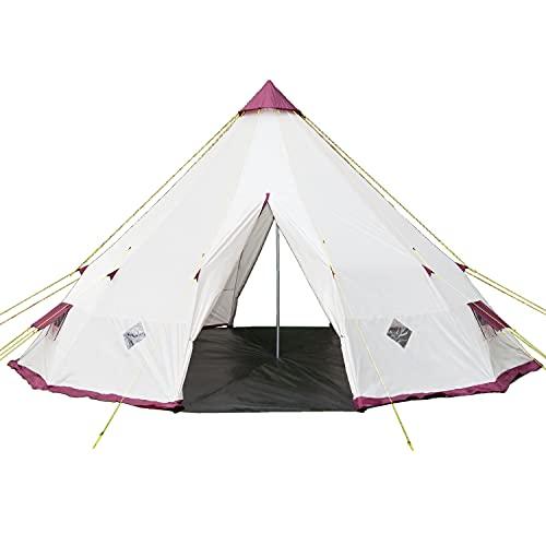 Skandika Tipi 300 / 301 Zelt Outdoor | Campingzelt für bis zu 12 Personen, Moskitonetz, 3 m Stehhöhe, 5,5 m Durchmesser, Stahl-Gestänge | Indianerzelt, Partyzelt, Festivalzelt, Glamping (Tipii 300 ohne eingenähtem Zeltboden)