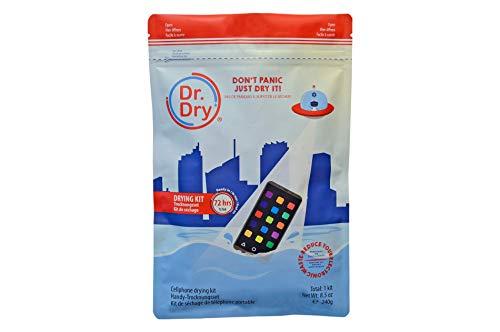 Dr. Dry Rescue Kit - Smartphone und Handy-Rettungspaket zur Soforthilfe bei Wasserschaden - zieht Feuchtigkeit aus dem Gerät