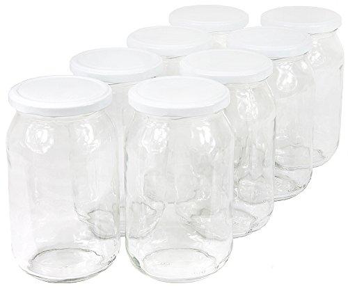 Wamat 900 ml Einweckgläser mit Deckel weiß Einmachgläser Vorratsgläser Einmachglas Weck (Menge: 48 Stück)