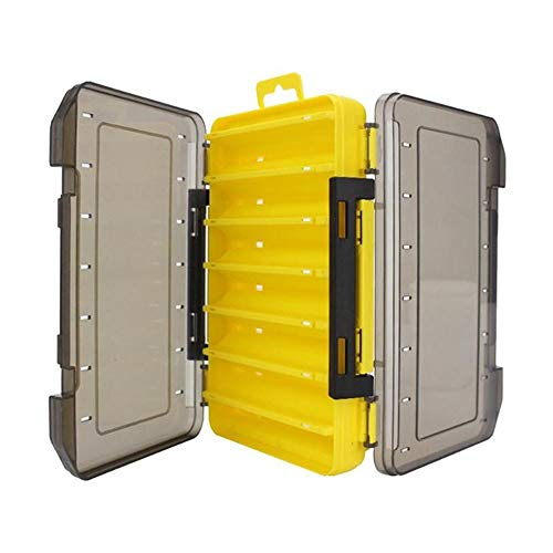 WLKK Caja de Aparejos de Pesca Duradera de Doble Cara, hábil Caja de Almacenamiento de señuelos, 12/14 Compartimentos(20x13x3.5cm,Yellow)