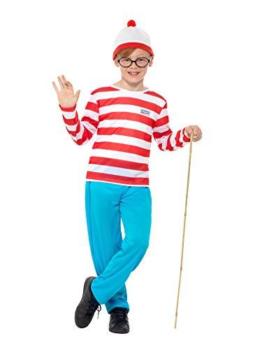 Smiffy's Licenciado oficialmente Où est Charlie ? Costume, Rouge et blanc, avec haut, pantalon, lunettes et chape