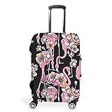 Funda protectora para maleta de viaje con diseño de flamenco, 4 tamaños personalizados, se adapta a muchos maletines de equipaje, White (Blanco) - STELULI-XLXT-24