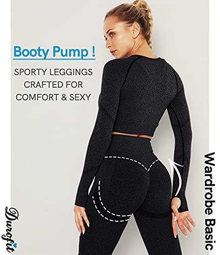 DUROFIT Mallas Push Up Mujer Leggings Deportivas Pantalones Deportivos Fitness Leggins Polainas de Yoga Training Fitness Cintura Alta Estiramiento Elásticos Negro S
