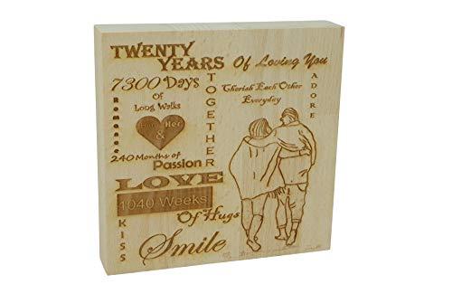 Pirantin Adorno de pie para 20 años de amor – 20º aniversario macizo decorativo