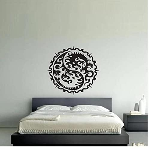 Yin Yang Dragons Yoga pegatinas de pared extraíbles para la decoración del papel pintado de la sala de estar para el hogar calcomanías de pared dormitorio vinilo arte 57X57cm