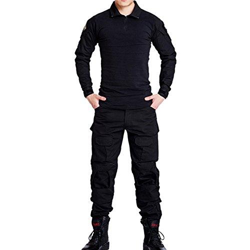 Vividda Herren Sweatshirt Top und Camouflage Hosen für Armee Militär Airsoft Paintball und Jagd Wargame Paintball Anzug Unifrom XS Schwarz