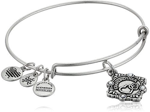 Alex and Ani Womens Because I Love You, Grandmother Charm Bangle Bracelet, Rafaelian Silver, Expandable
