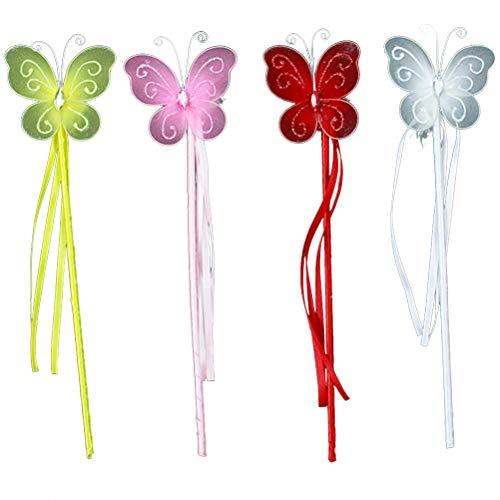 Toyvian 12Pcs Fee Prinzessin Zauberstäbe Butterfly Fairy Stick Fee Zauberstäbe für Kinder Mädchen verkleiden Sich Rollenspiele