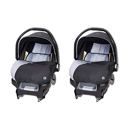 Baby Trend Ally Adjustable 35 Pound Comfortable Carry Travel Infant Baby Car Seat with Base, Stormy (2 Pack)