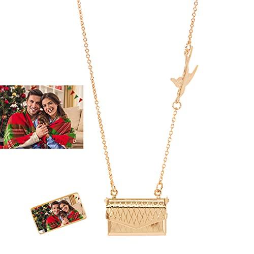 Collar De Medallón Grabado Personalizado Collar De Sobre Personalizado Con Foto Collar Con Colgante Lindo Cumpleaños Único Collar De Aniversario De Boda Pulsera Para Mujer Niña(Oro 18')