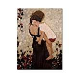 HYFBH Famosa Pintura Abstracta Madre e Hijo de Gustav Klimt Pintura en Lienzo Arte de la Pared Impresiones Imagen para la decoración de la Sala de Estar 24'x32 (60x80cm) con Marco
