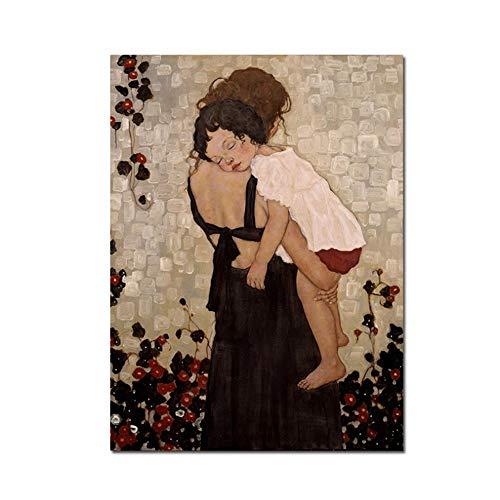 """HYFBH Famosa Pintura Abstracta Madre e Hijo de Gustav Klimt Pintura en Lienzo Arte de la Pared Impresiones Imagen para la decoración de la Sala de Estar 24""""x32 (60x80cm) con Marco"""