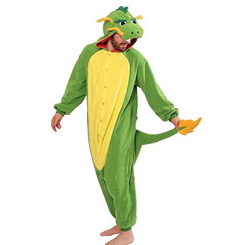 JIAWEIDAMAI Pijama Kigurumi Animal Adulto Verde Dragn Chino Onesies Pijama Sete Cosplsy Disfraces Mono con Capucha para Mujer Fiesta De Halloween