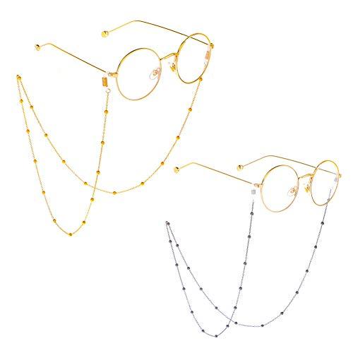 Cadena para gafas de sol con cordón para el cuello, correa de sujeción para gafas de sol, soportes para gafas, dorado y plateado (Beaded)