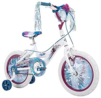 Huffy Disney Frozen 2 16 Inch Girl's Bike with Training Wheels Streamers & Basket White Quick Connect Assembly