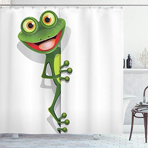 Lunarable Cartoon-Duschvorhang, Frosch mit größerem Auge, Eidechse, Gecko, Smily, kindliche lustige Cartoon-Kunstwerke, Stoffstoff, Badezimmer-Dekor-Set mit Haken, 213,4 cm lang, Farngrün
