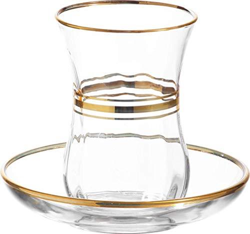 Lav Teegläser | 12 tlg für 6 Personen | 115ml | Glas | Gold