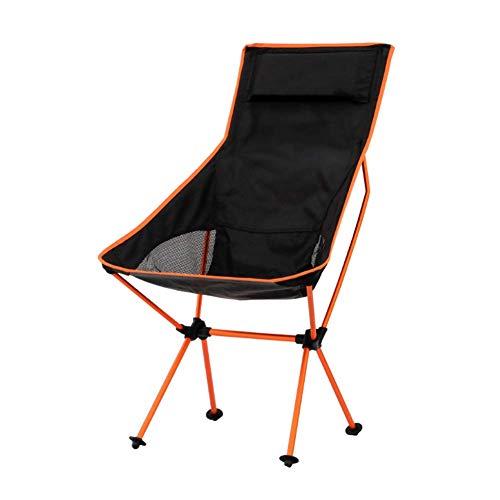 Aajolg Chaises de Camping Se Pliantes d'alliage d'aluminium, Tuyau d'acier épaissi par Tissu de Nylon de S520 Oxford avec la Chaise de Camp portative de Sac de Rangement,Orange