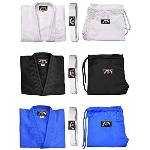 Prime Fitness Braziliaanse Ju Jitsu Uniform zwaar gewicht gestikte pak Karate kleding Outfit voorgekrompen BJJ Aikido Gi Model 1303-zwart met gratis witte riem Maten: A1,A2,A3,A4