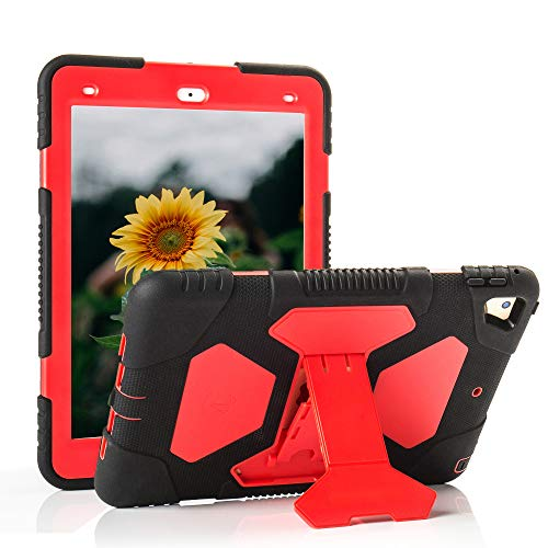 iPad 9.7 2018/2017 Case iPad Air 2 Kid Case Heavy Duty Shockproof Cover Vivid Colors with Stand Protective Rugged for iPad 9.7 inch 2018/2017 6th Gen 5th Gen iPad Air 2 (Black Red)