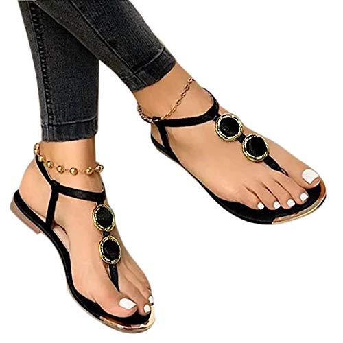 Aniywn T-Strap Flip Flops Flat Sandals for Womern Flat Flip Flops Strappy Gladiator Sandals Summer Beach Shoes Black