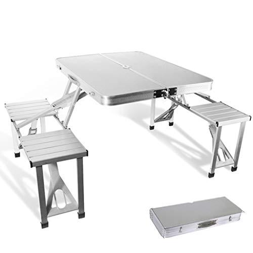 Draagbare opklapbare campingtafel en -stoel, aluminiumlegering, met handvat, tafel voor 4 personen, geschikt voor buiten, camping, strand, barbecue