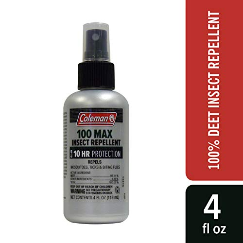 Coleman 100 Max 100% DEET Insect Repellent Pump for Ticks and Mosquitos - 4 oz Bottle