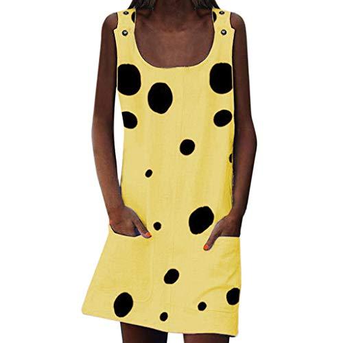 LeeMon Kleid Damen Tasche Sling Kleid? LeeMon Frauen-Sommer-Sleeveles O-Hals-Punkt kleidet Taschen-beiläufige einfache Minikleider