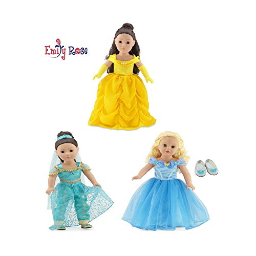 Emily Rose 18 Inch Doll Princess Dress Value Bundle | Amazing 8 Piece Set, Includes Cinderella, Belle and Jasmine - Inspired Costumes | 18' Doll Clothes Fit American Girl Dolls and Many More!