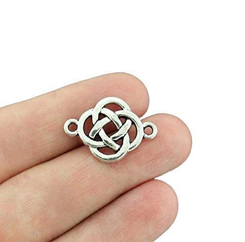 8 Celtic Knot Connector Antique Silver Tone Charms - SC4624