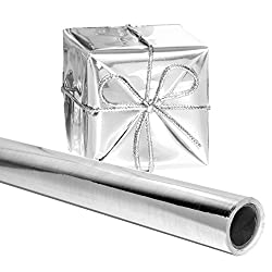 Silver Gift Wrapping Paper 26 in. x 25 FEET Roll - PREMIUM Thick Shiny Metallic Deco Wrap Foil for Presents, Origami, Weddings, Embossing by Angel Crafts